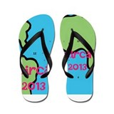 Circa 2013 green and blue Flip Flops