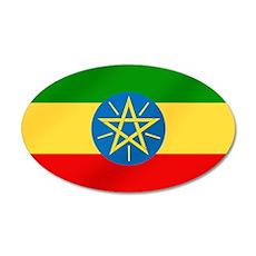 Ethiopian Flag 35x21 Oval Wall Decal