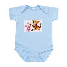 Pink Piglet and stripey Tiger Infant Bodysuit