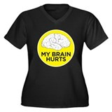 my brain hurts Women's Plus Size V-Neck Dark T-Shi
