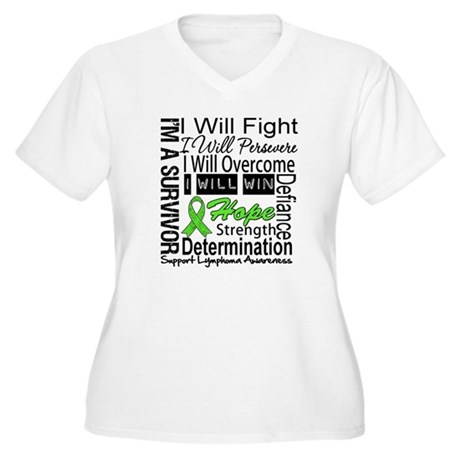 Lymphoma Persevere Women's Plus Size V-Neck T-Shir