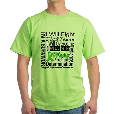 Lymphoma Persevere Green T-Shirt