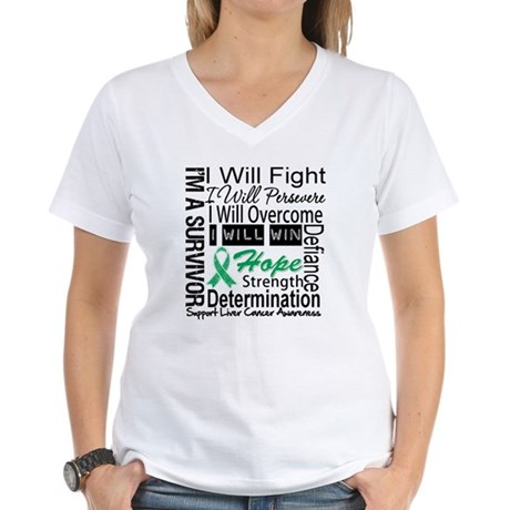 Liver Cancer Persevere Women's V-Neck T-Shirt