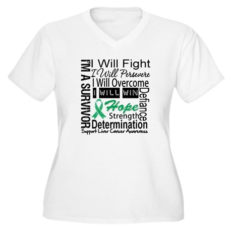 Liver Cancer Persevere Women's Plus Size V-Neck T-