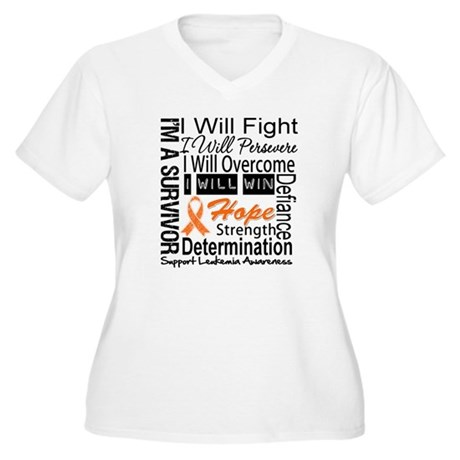 Leukemia Persevere Women's Plus Size V-Neck T-Shir
