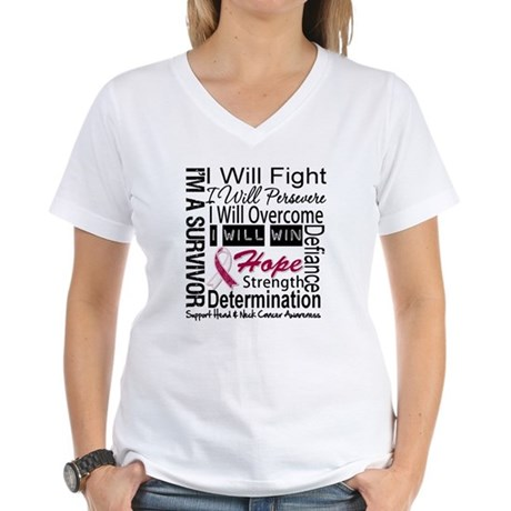 Head Neck Cancer Persevere Women's V-Neck T-Shirt
