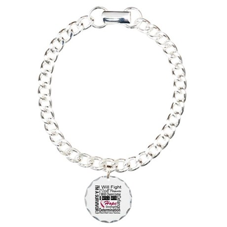 Head Neck Cancer Persevere Charm Bracelet, One Cha