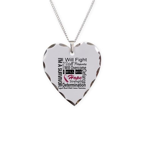 Head Neck Cancer Persevere Necklace Heart Charm