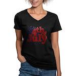 4th of July Women's V-Neck Dark T-Shirt