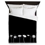 Flowers in a Row Queen Duvet - Black