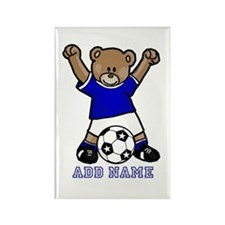 Cute Personalized soccer bear Rectangle Magnet