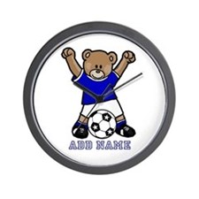 Cute Personalized soccer bear Wall Clock