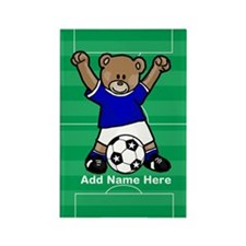Personalized kids soccer bear Rectangle Magnet