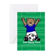 Personalized kids soccer bear Greeting Card