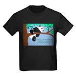 Panda loves libraries Kids Dark T-Shirt