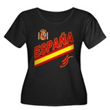 Spain World Cup Soccer Women's Plus Size Scoop Nec
