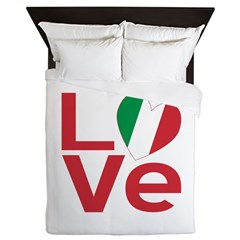 Image of queen sized duvet with the Italian Heart LOVE design available at ameriwear.flagnation.com
