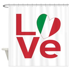 Picture of shower curtain with the Italian Flag Heart LOVE design at ameriwear.flagnation.com