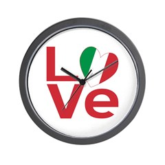 Picture of wall clock with Italian Heart Flag LOVE design at ameriwear.flagantion.com