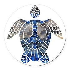 Sea Turtle Peace Round Car Magnet