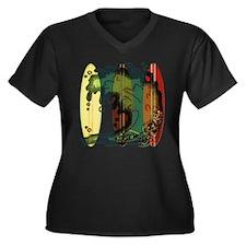 Surf's Up Women's Plus Size V-Neck Dark T-Shirt