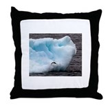 Adelie Penguin on Iceberg Throw Pillow