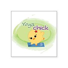 """Yoga Chick Square Sticker 3"""" x 3"""""""