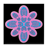 Pink and Blue Boot Floral Hiker Tile Coaster