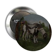 "Painted Horse and Foal 2.25"" Button"