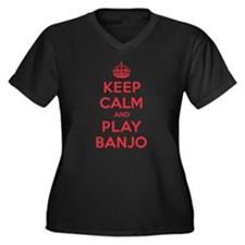 Keep Calm Play Banjo Women's Plus Size V-Neck Dark