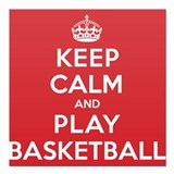 "Keep Calm Play Basketball Square Car Magnet 3"" x 3"