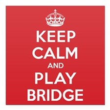 "Keep Calm Play Bridge Square Car Magnet 3"" x 3"""