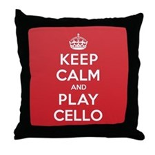Keep Calm Play Cello Throw Pillow