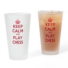 Keep Calm Play Chess Drinking Glass