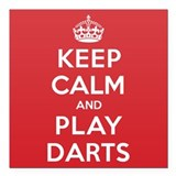 "Keep Calm Play Darts Square Car Magnet 3"" x 3"""