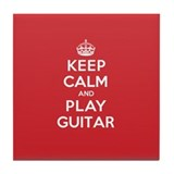 Keep Calm Play Guitar Tile Coaster