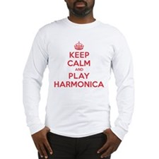 Keep Calm Play Harmonica Long Sleeve T-Shirt