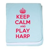 Keep Calm Play Harp baby blanket