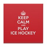 Keep Calm Play Ice Hockey Tile Coaster