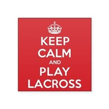 "Keep Calm Play Lacross Square Sticker 3"" x 3"""