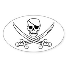 Eyepatch Skull & Crossed Swords Oval Decal