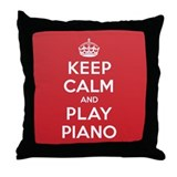 Keep Calm Play Piano Throw Pillow