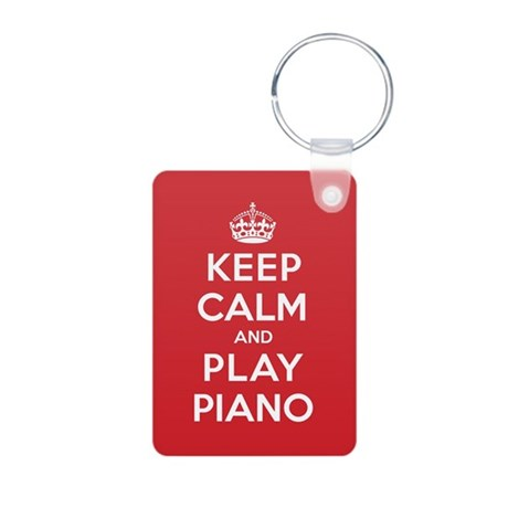 Keep Calm Play Piano Aluminum Photo Keychain