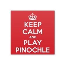 "Keep Calm Play Pinochle Square Sticker 3"" x 3"""