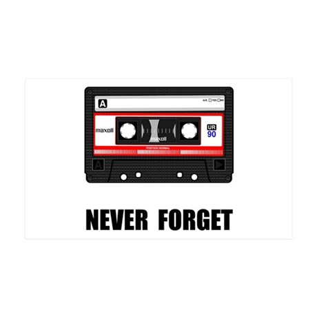 Never Forget Cassette Black.png 35x21 Wall Decal