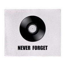 Never Forget Vinyl Black Throw Blanket