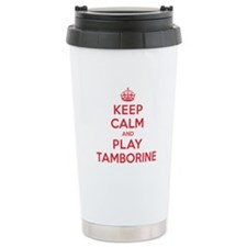 Keep Calm Play Tamborine Ceramic Travel Mug