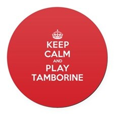 Keep Calm Play Tamborine Round Car Magnet
