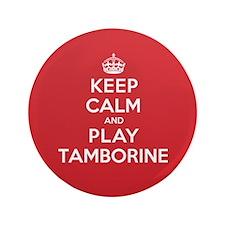 """Keep Calm Play Tamborine 3.5"""" Button (100 pack)"""