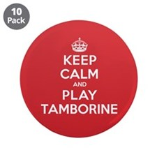 "Keep Calm Play Tamborine 3.5"" Button (10 pack)"